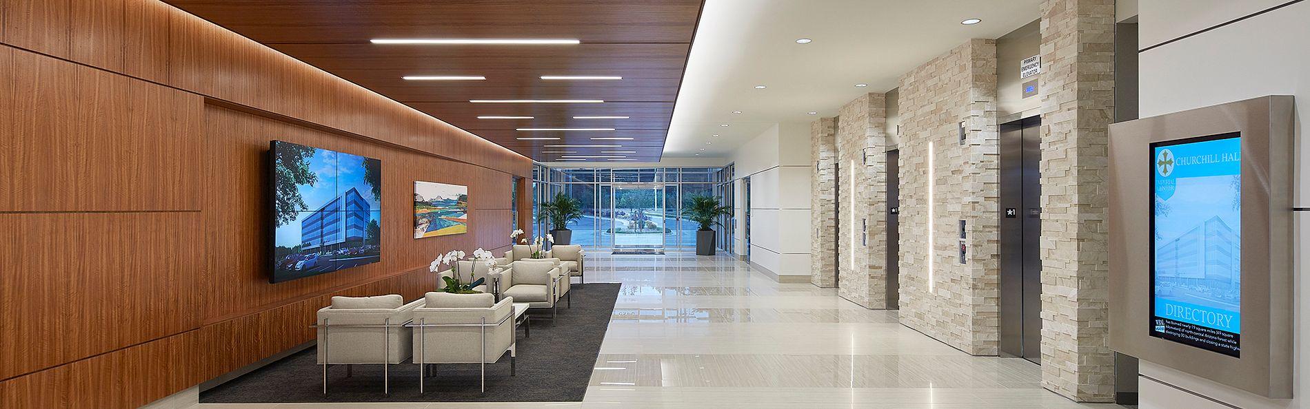 Main lobby area in the Churchill Hall Office Building