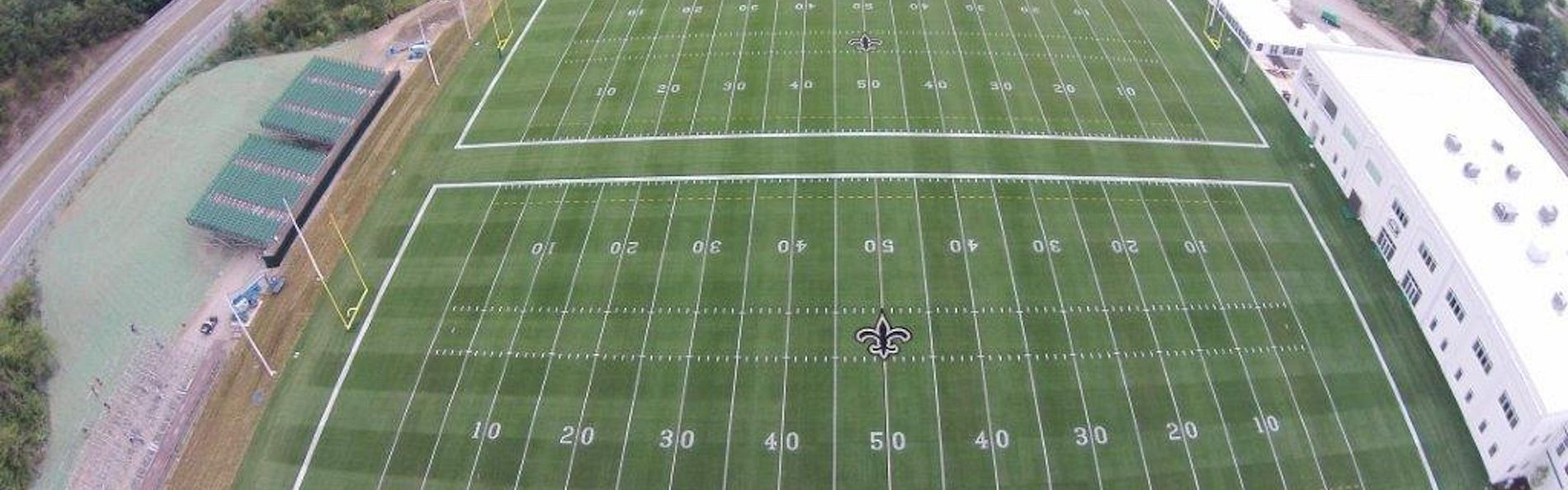 Three regulation-meeting football fields finished in time for the New Orleans Saints preseason practice