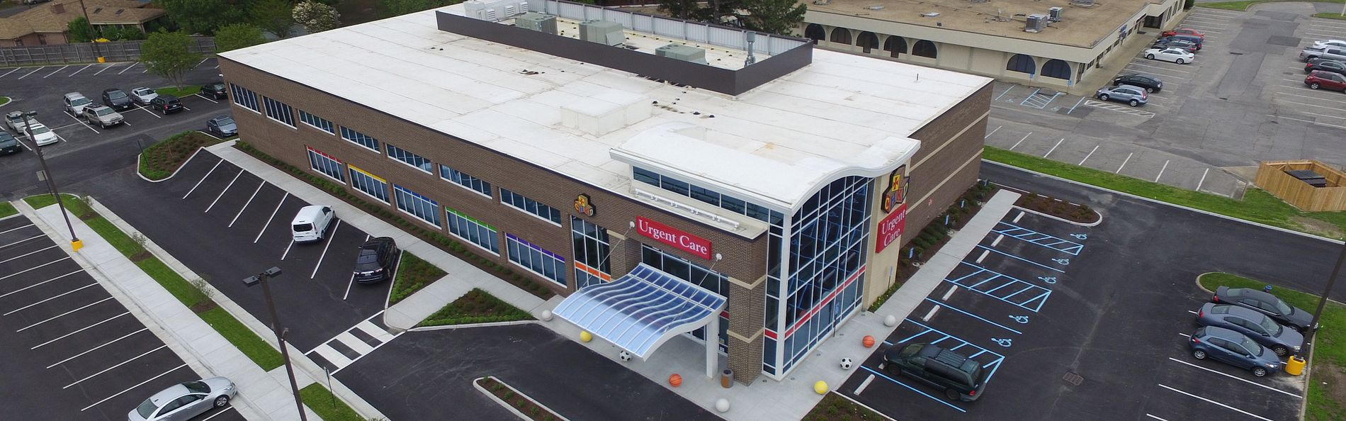 Aerial shot of the Children's Hospital of the Kings' Daughters Health Center & Urgent Care at Loehmann's
