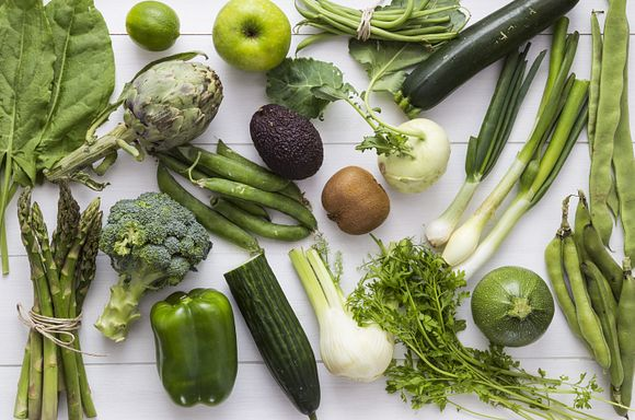 Assorted Green Vegetables on a table