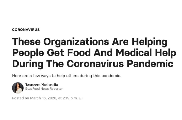 Buzzfeed: These organization are helping people get food and medical help during the coronavirus pandemic