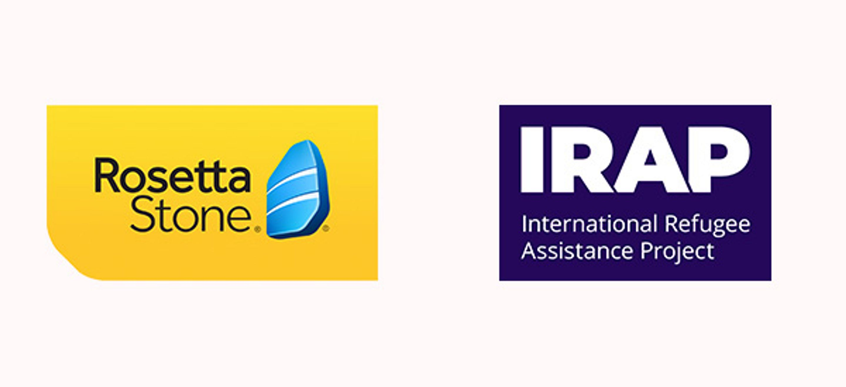 Side-by-side logos for Rosetta Stone and IRAP. Rosetta Stone's logo is a yellow rectangle with a rounded lower left corner with the black text Rosetta Stone and an illustration of a blue stone. IRAP's logo is a bright purple rectangle with the text IRAP in bold and underneath it International Refugee Assistance Project.