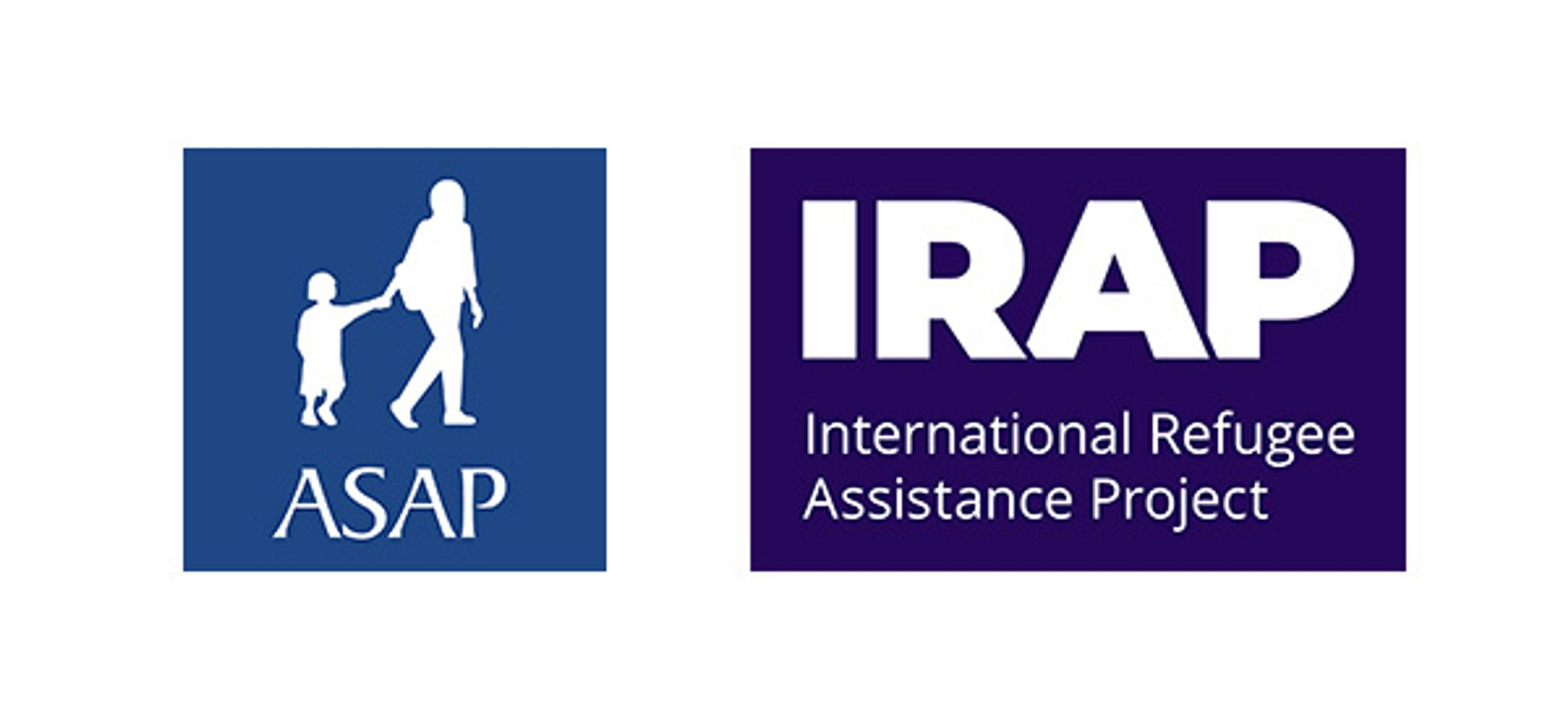 Side-by-side logos for the Asylum Seeker Advocacy Project (ASAP) and IRAP. ASAP's logo is bright blue background with a white silhouette of an adult holding a child's hand and walking with the text ASAP beneath it. IRAP's logo is a bright purple rectangle with the text IRAP in bold and underneath it International Refugee Assistance Project.