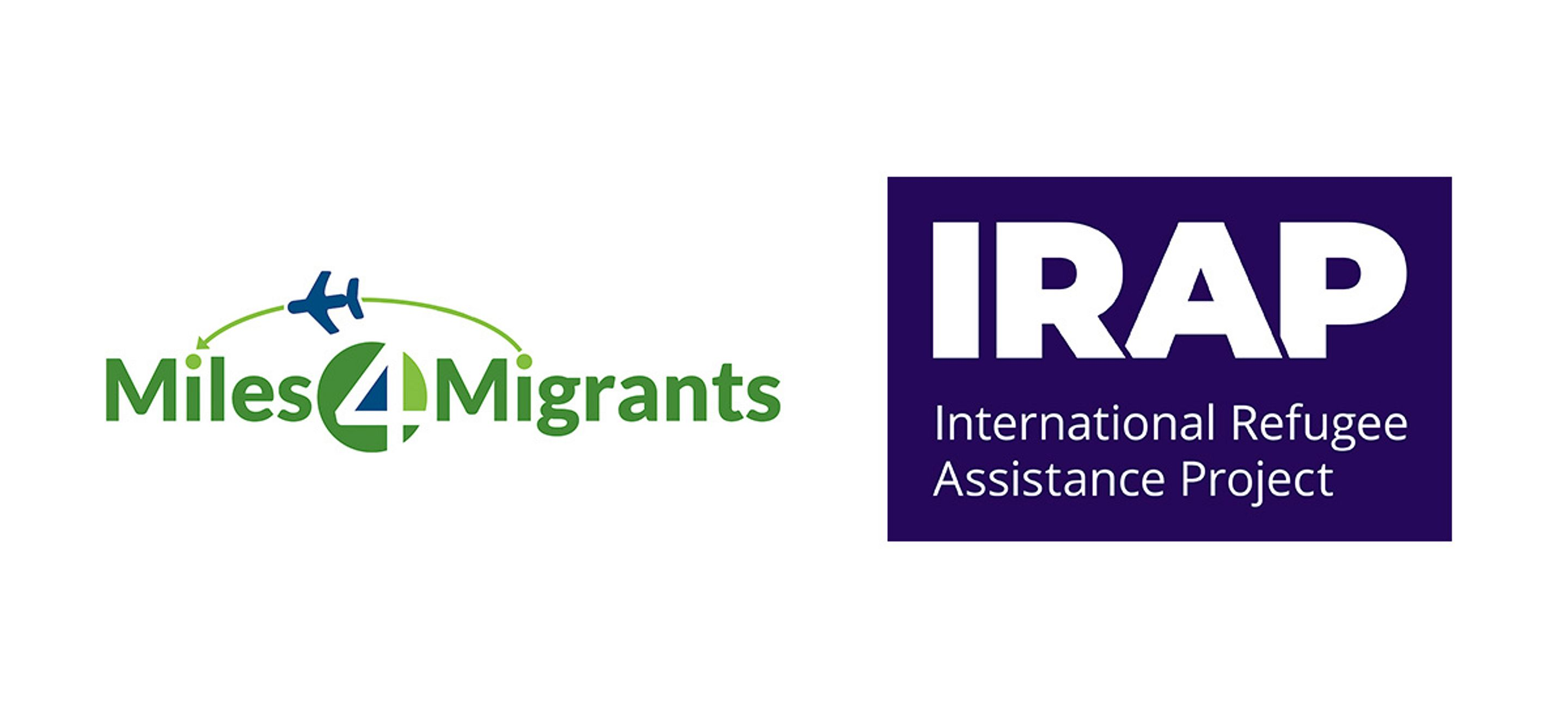 """Dual horizontal logo of Miles4Migrants and IRAP logos. On the left is the Miles4Migrants logo, in two shades of green and a bright, bold blue. A blue airplane transits a light green flight path between the dot of the """"i"""" in Migrants and the dot of the """"i"""" in Miles. The internal triangle of the 4 in the middle of the logo is filled in in blue. To the right is the IRAP logo with the acronym IRAP in bold white Open Sans font stacked on top of the full organization name. """"International Refugee"""" and """"Assistance Project"""" are split across two lines and stacked. The white text is set against a purple background."""