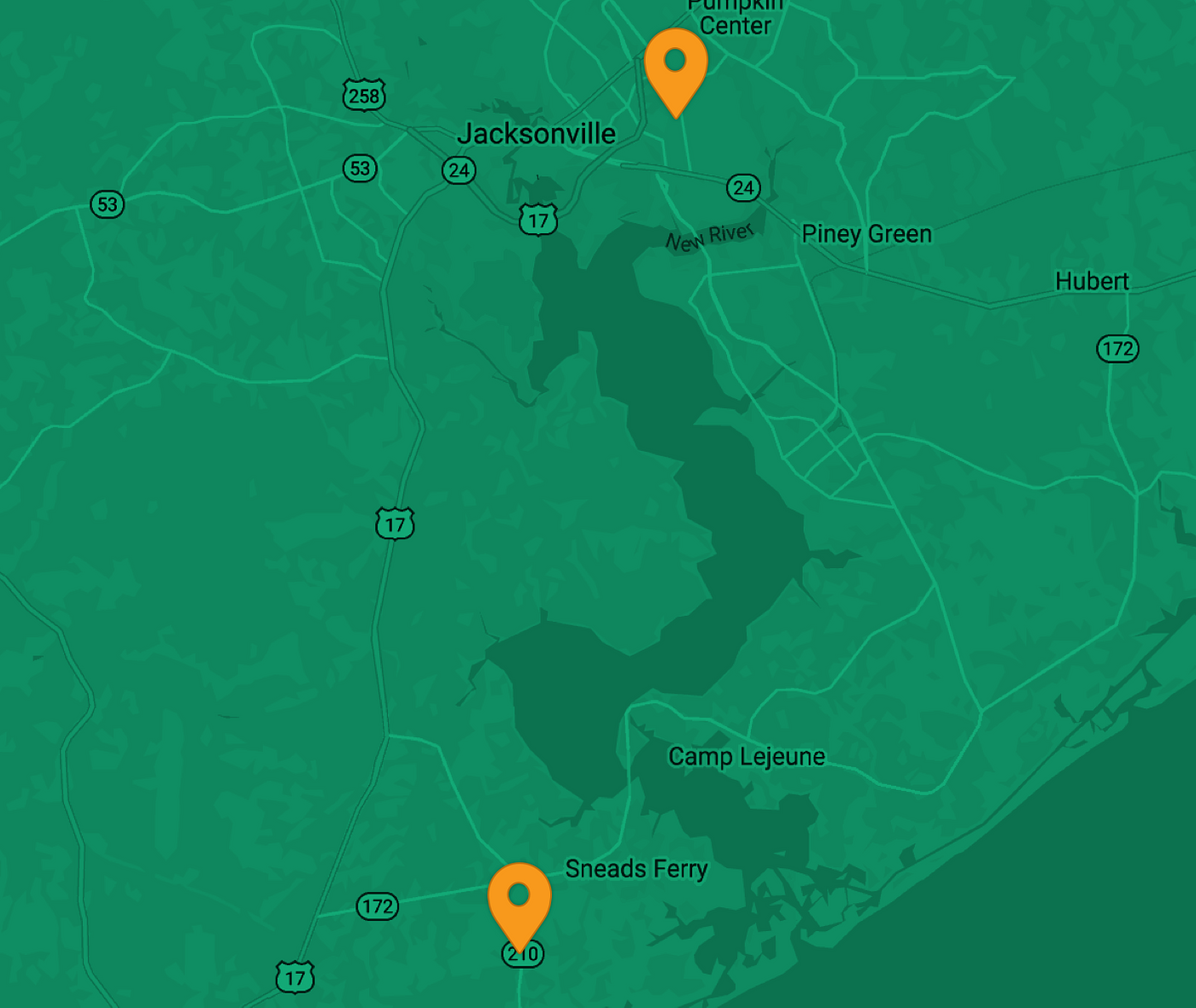 Map showing EV charging station locations from Jones-Onslow EMC