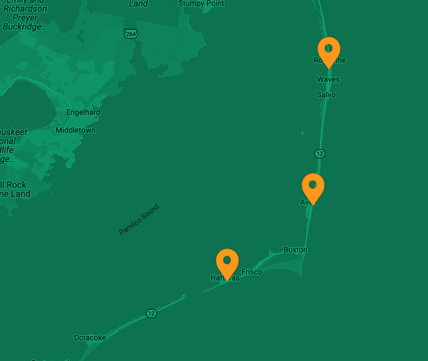 Map indicating EV chargers on Hatteras Island