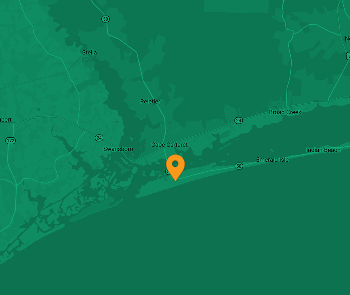 Map showing EV charger location on Emerald Isle