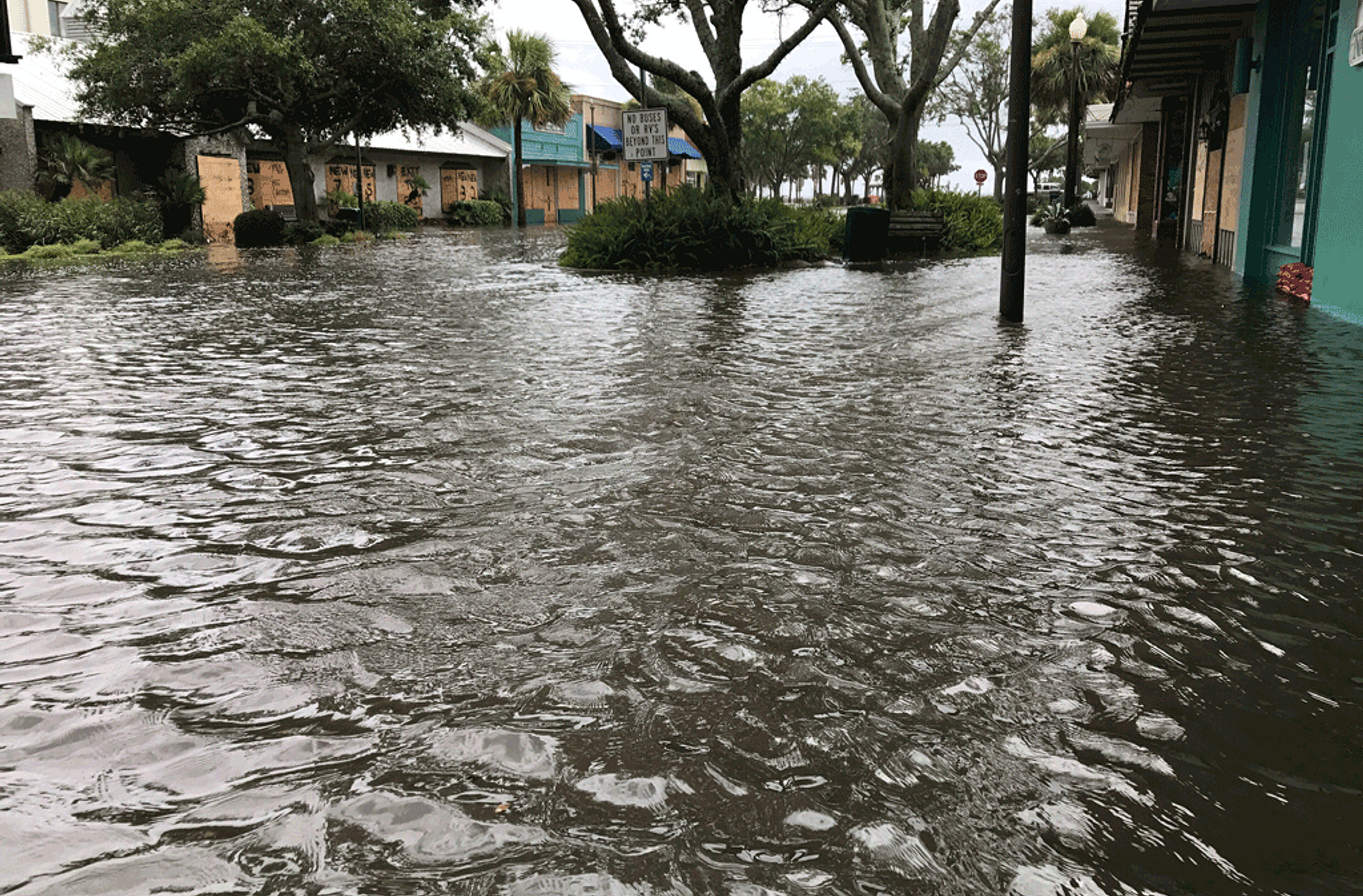 Flooded street after a storm