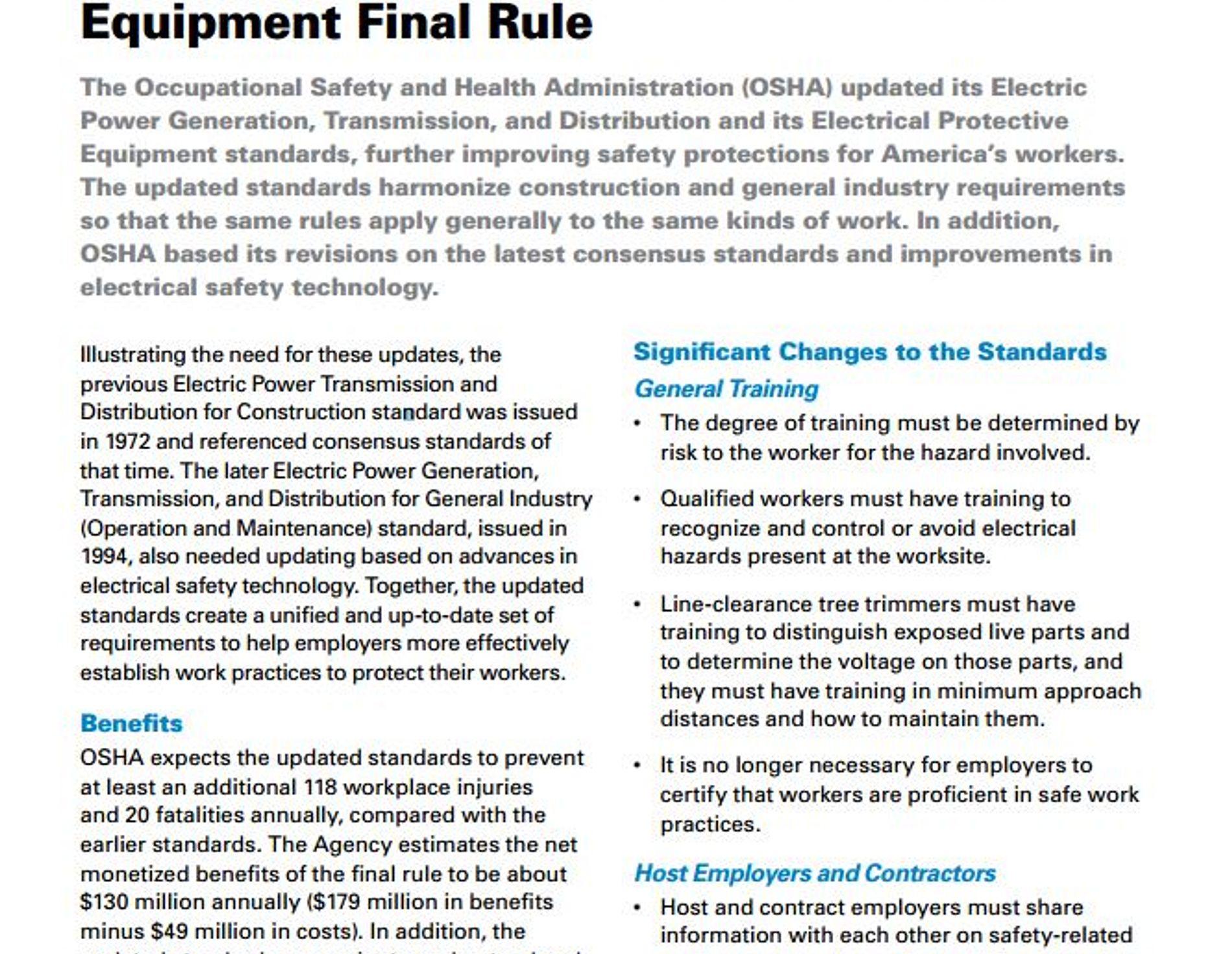 OSHA factsheet