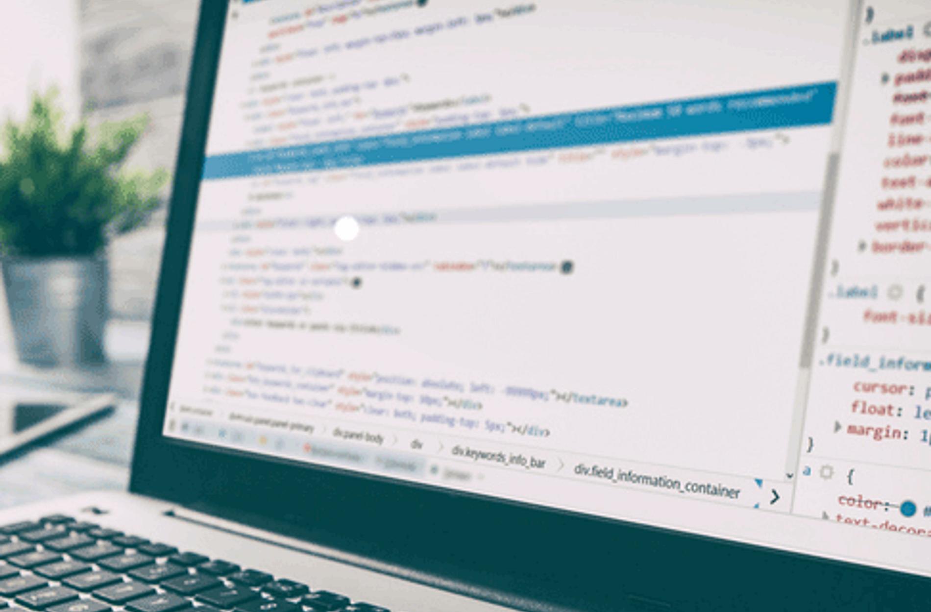 Laptop showing web code