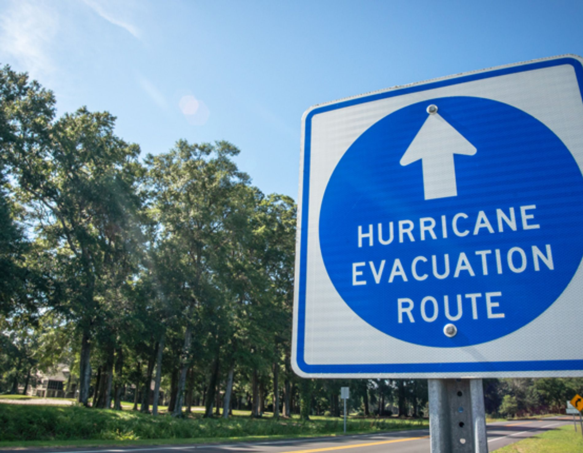Sign showing a hurricane evacuation route