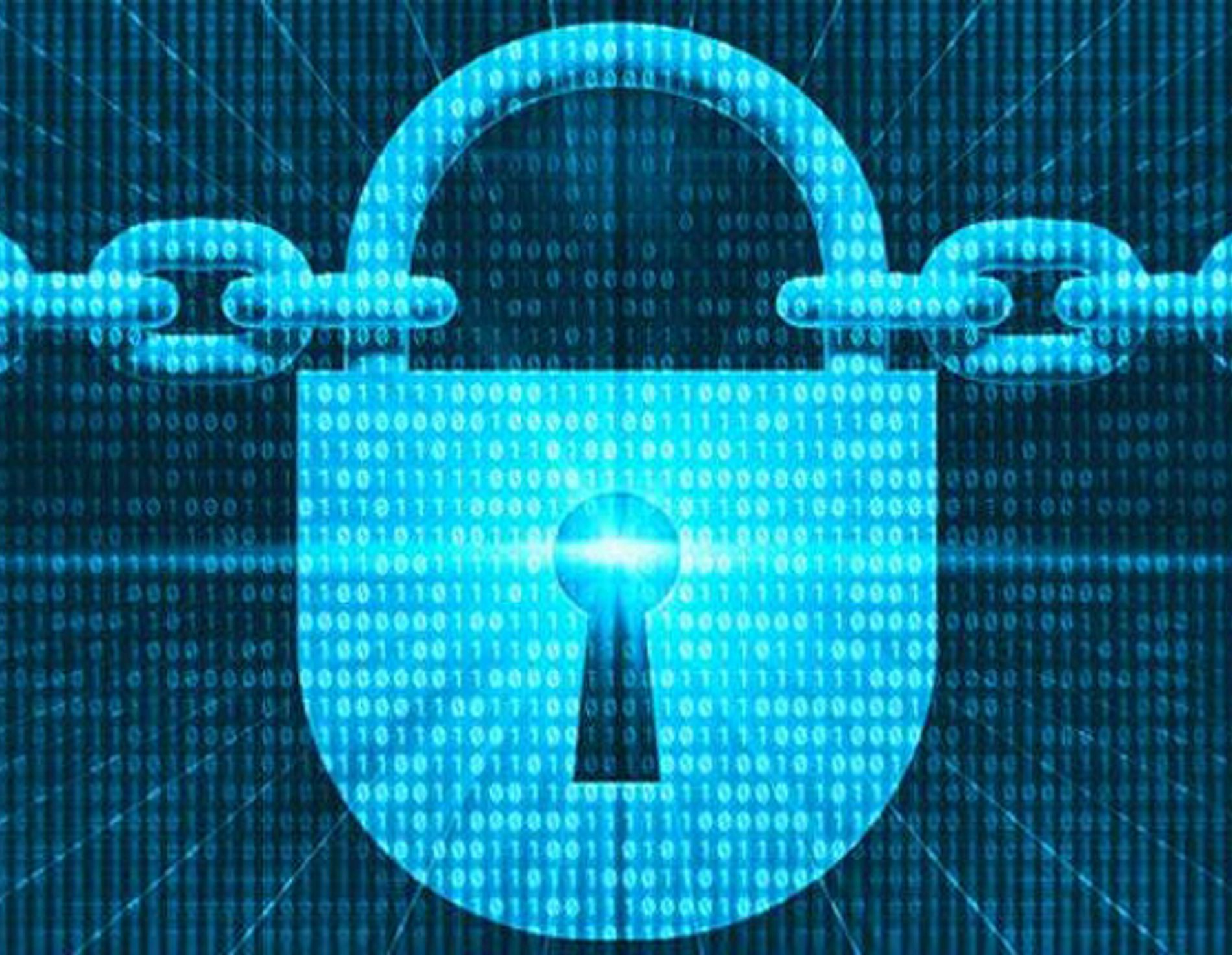 Electronic image of a pad lock holding chain links together