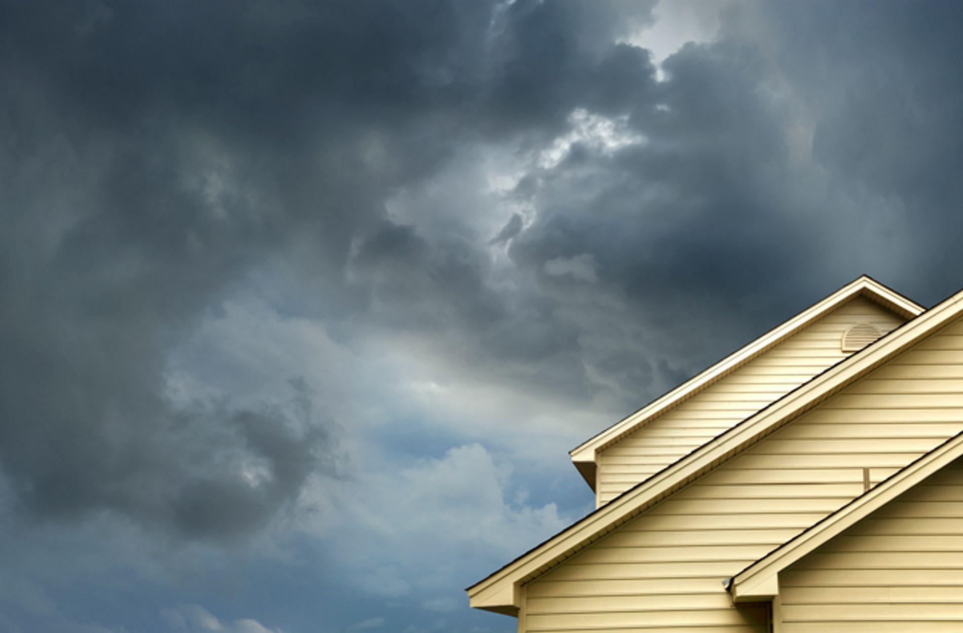 Cloudy sky over a home
