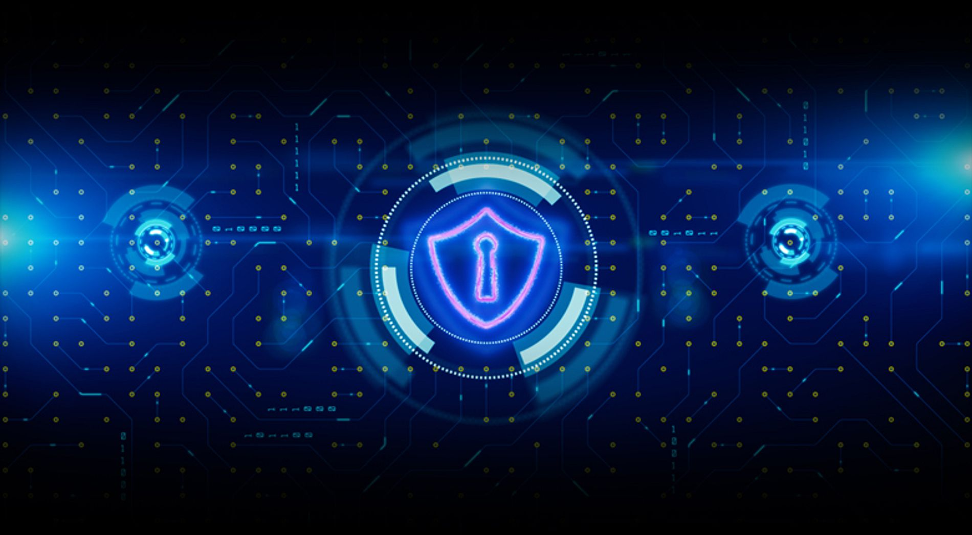HUD and Shield Icon of Cyber Security