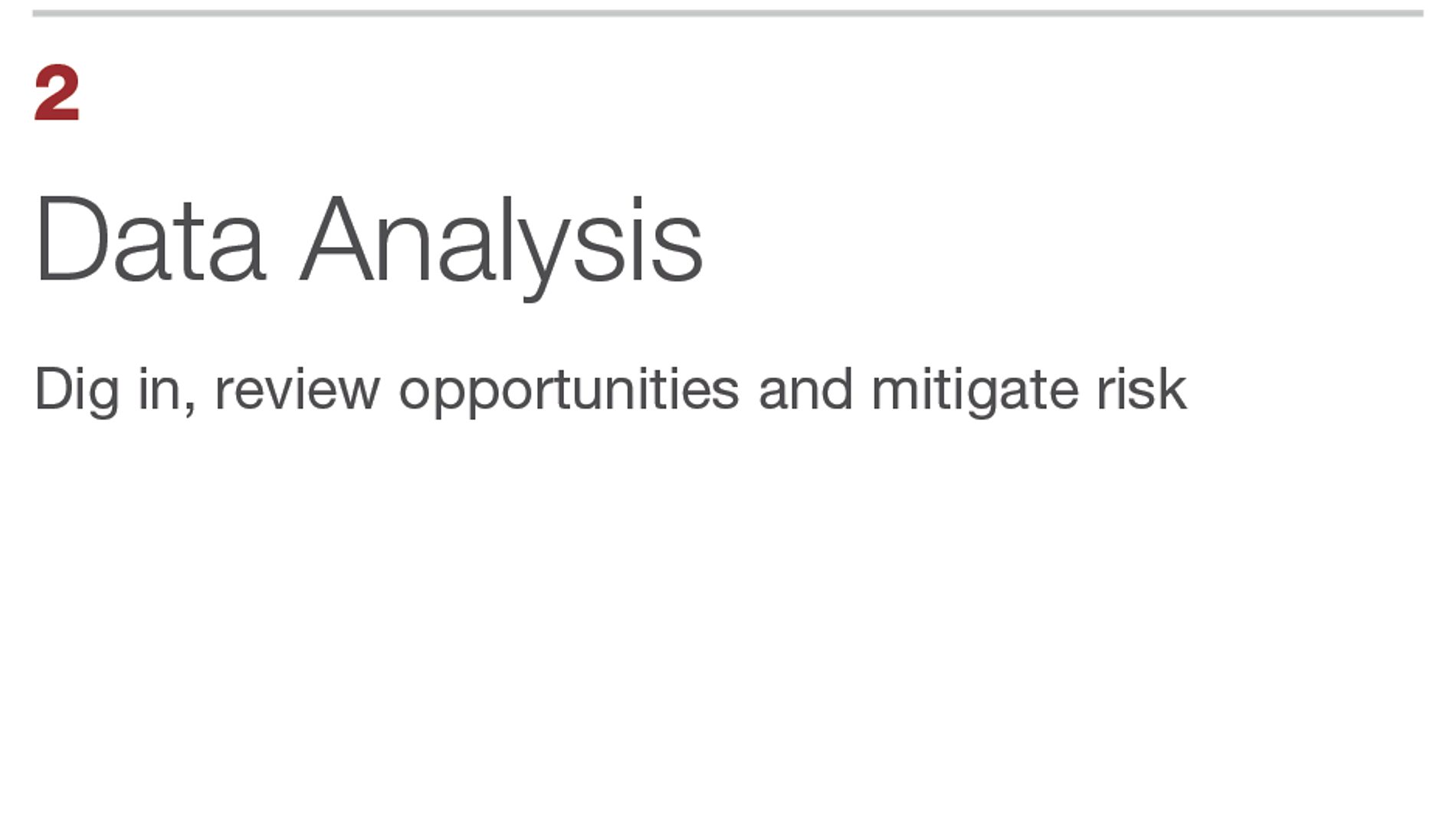 Data Analysis. Dig in, review opportunities and mitigate risk