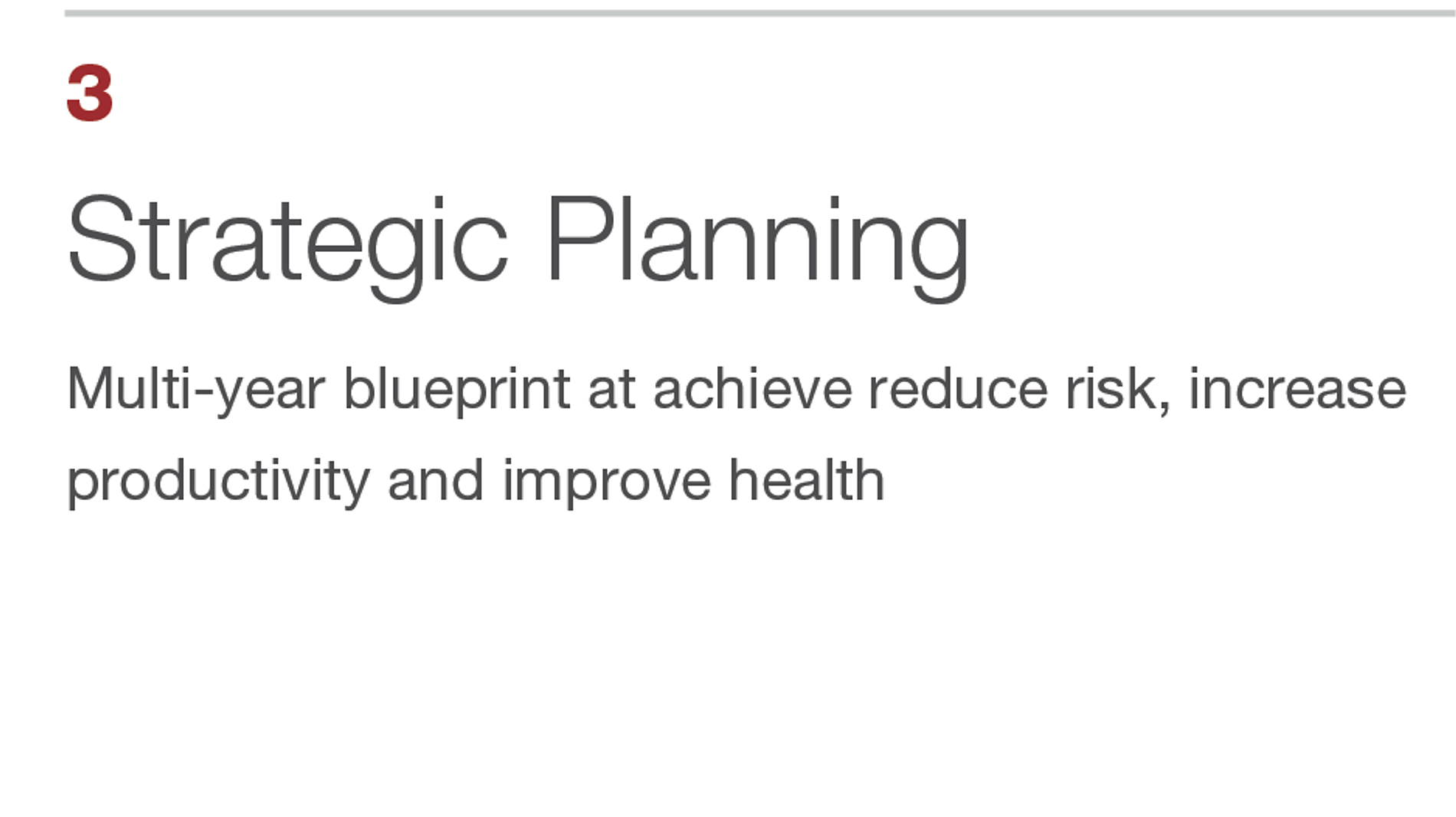 Strategic Planning. Multi-year blueprint at achieve reduce risk, increase productivity and improve health