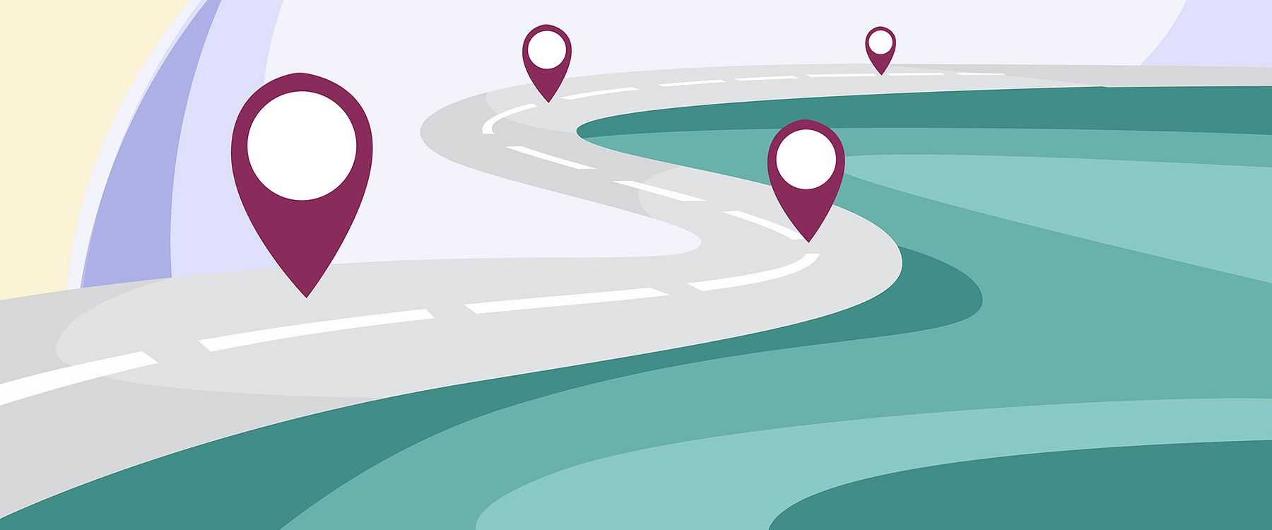 stylized illustration of a road and multiple map markers