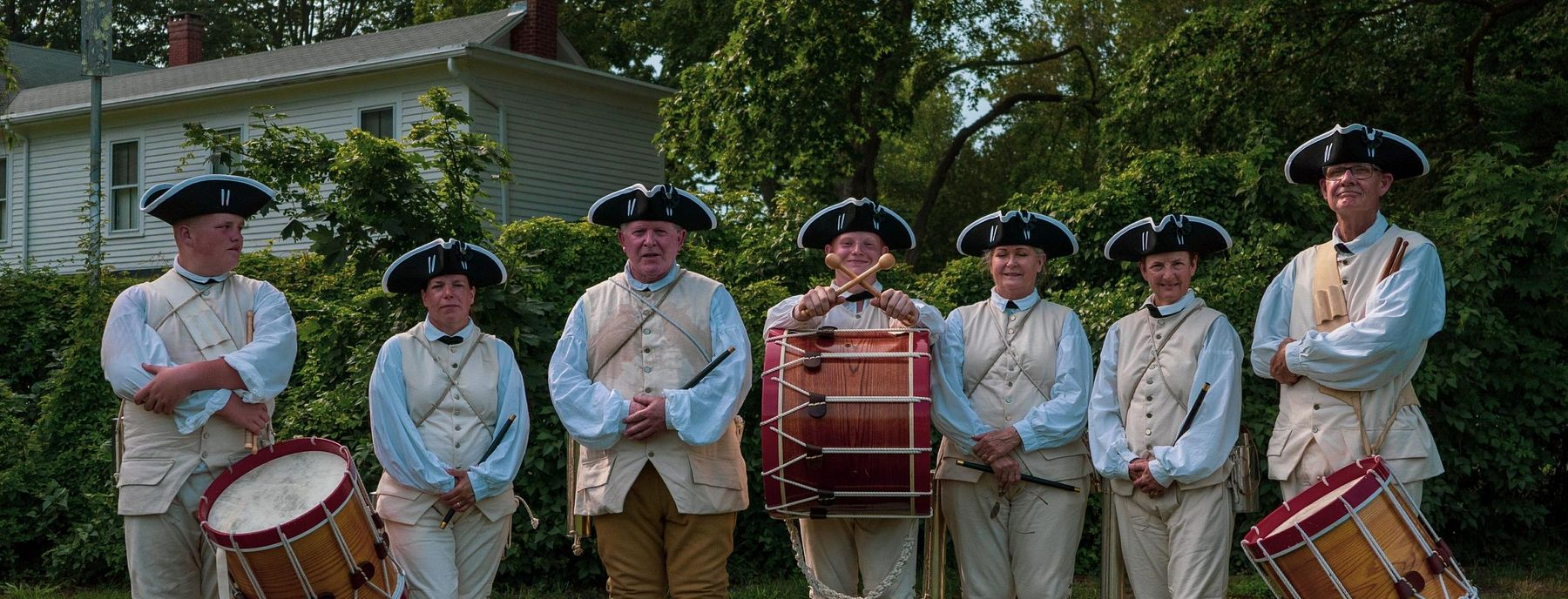 Members of Tryon Palace Fife and Drum line up